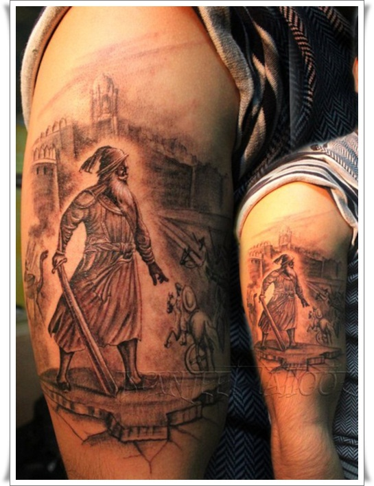 The armor of Roman soldiers, with the distinctive helmets, graves, bare legs and shields, mean that if you're looking for a tattoo of a Roman Warrior