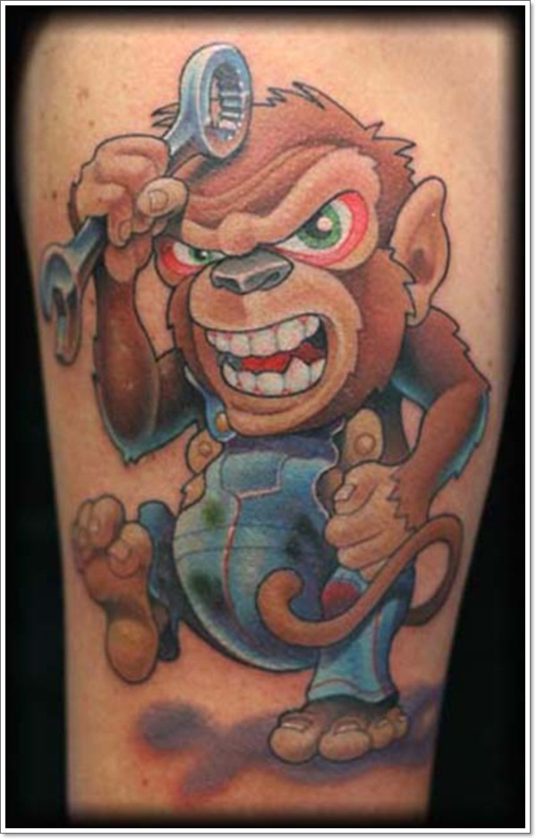 30 cool and crazy monkey tattoo designs. Black Bedroom Furniture Sets. Home Design Ideas