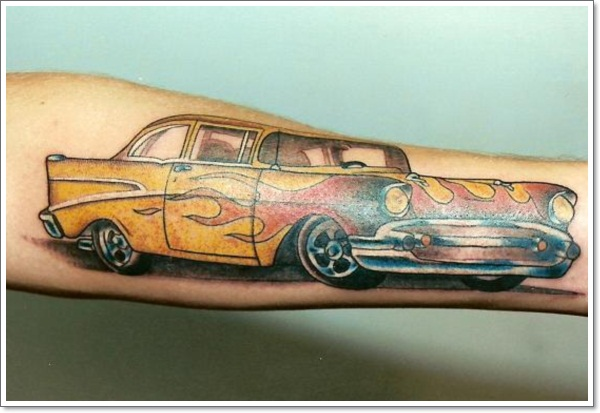 racing-car-colored-ink-tattoo-on-arm