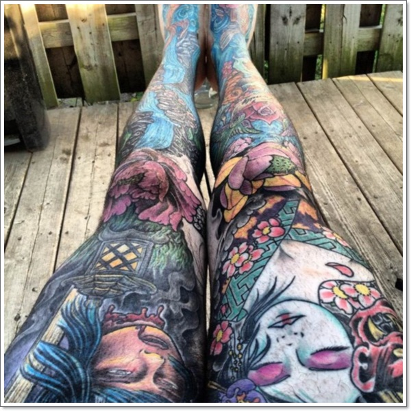 Flower Full Leg Tattoo
