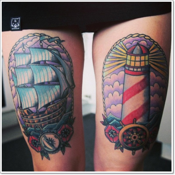 ship-lighthouse-thigh-legs-tattoos