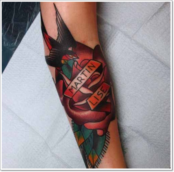 swallow-red-rose-tattoo-on-arm