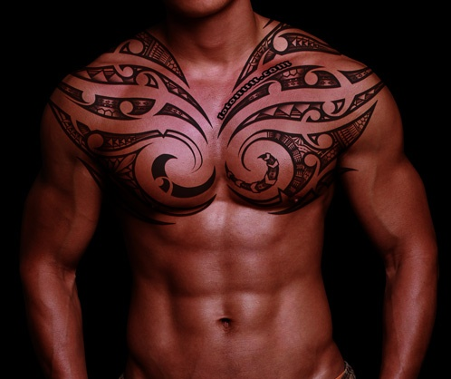 Tribal Sun Chest Tattoo