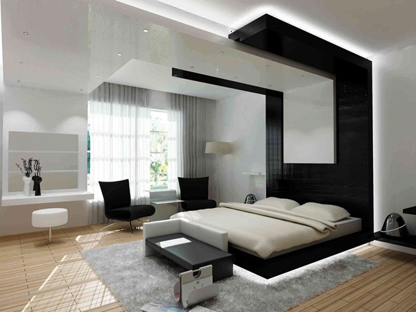 Chic Bedroom Interior Modern Furniture With Floating Bed