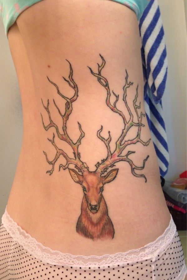 40 inspiring deer tattoo designs you may fall in love with for Deer antlers tattoo