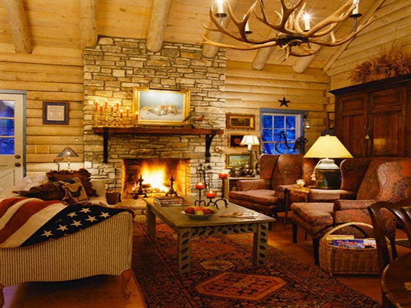 ca. 2005 --- Western Log Cabin with Flag Throw and Antler Chandelier --- Image by © Brad Simmons/Beateworks/Corbis