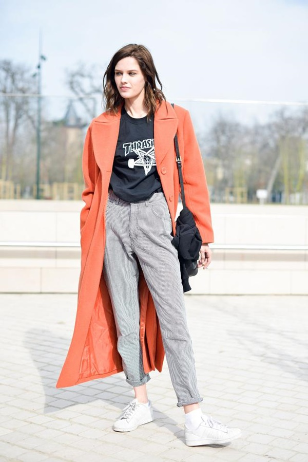 PARIS, FRANCE - MARCH 11: A model poses wearing a Thrasher t-shirt  on Day 9 of Paris Fashion Week Womenswear FW15 on March 11, 2015 in Paris, France.  (Photo by Vanni Bassetti/Getty Images)